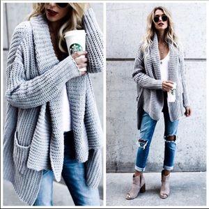POL chunky grey cardigan sweater